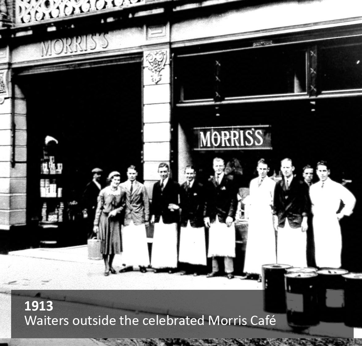 Waiters outside the celebrated Morris café
