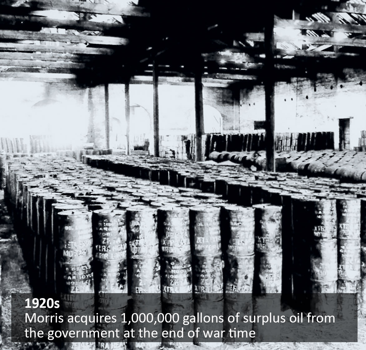 Morris acquires 1,000,000 gallons of surplus oil from the government at the end of war time