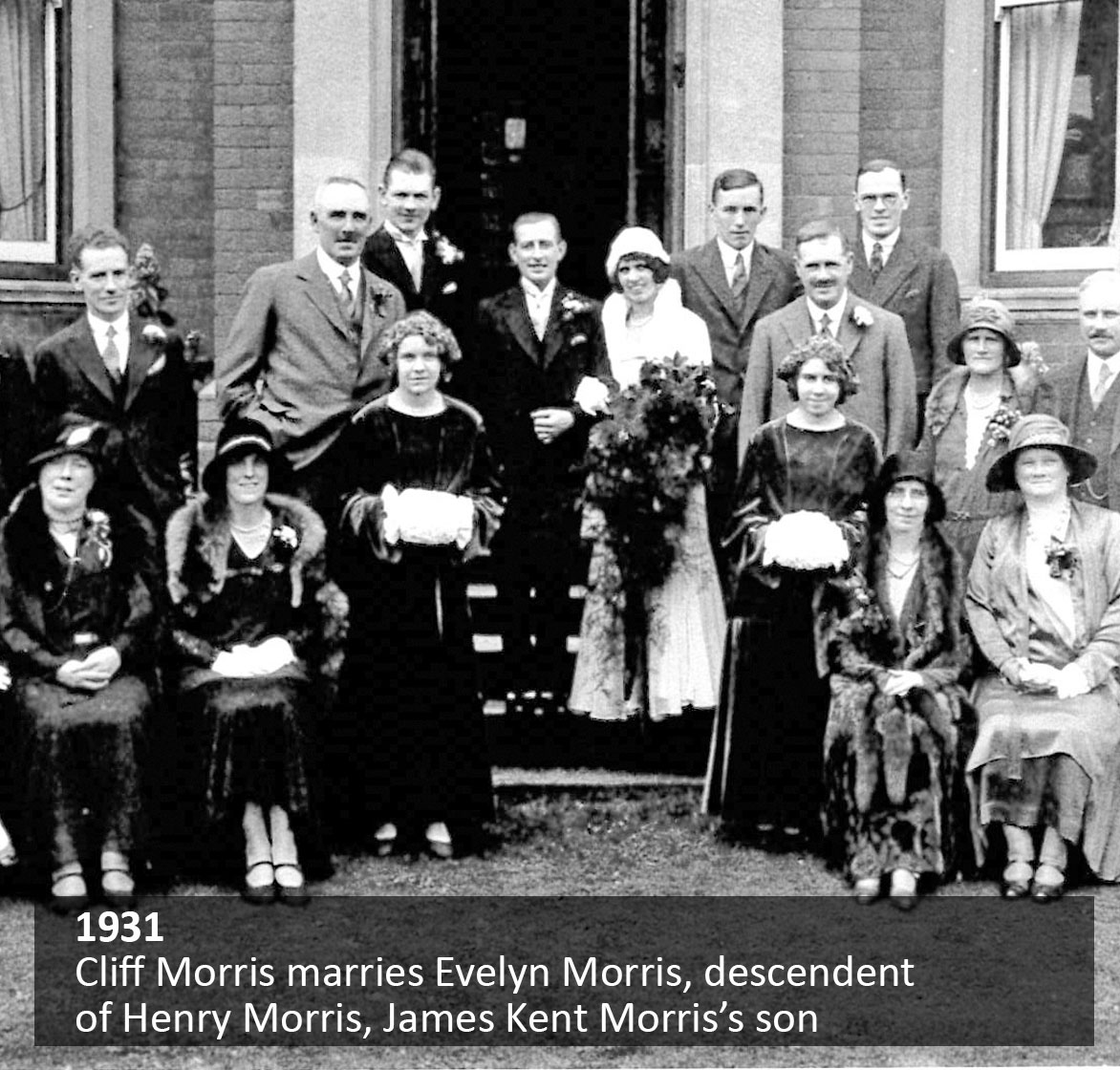 Cliff Morris marries Evelyn Morris, descendant of Henry Morris, James Kent Morris's son