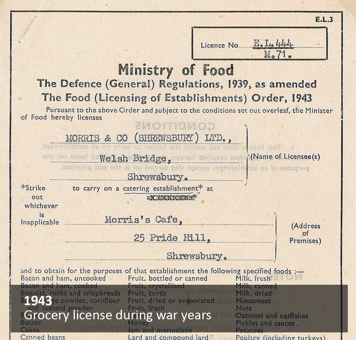 Grocery License during war years
