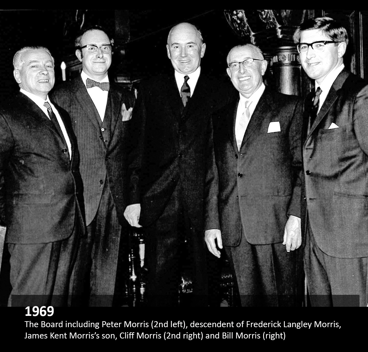 The Board including Peter Morris (2nd left), descendant of Frederick Langley Morris, James Kent Morris's son, Cliff Morris(2nd right) and Bill Morris (right)