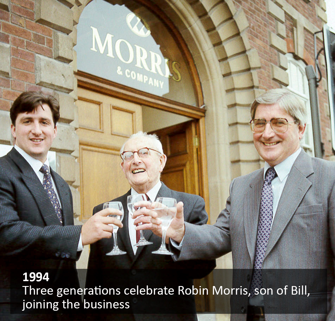 Three generations celebrate Robin Morris, son of Bill, joining the business