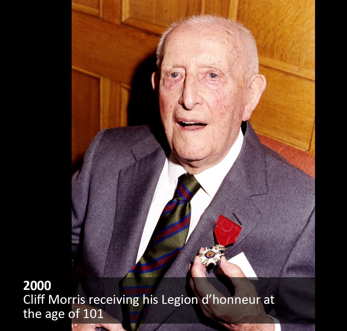 Cliff Morris receiving his Legion d'Honneur at the age of 101