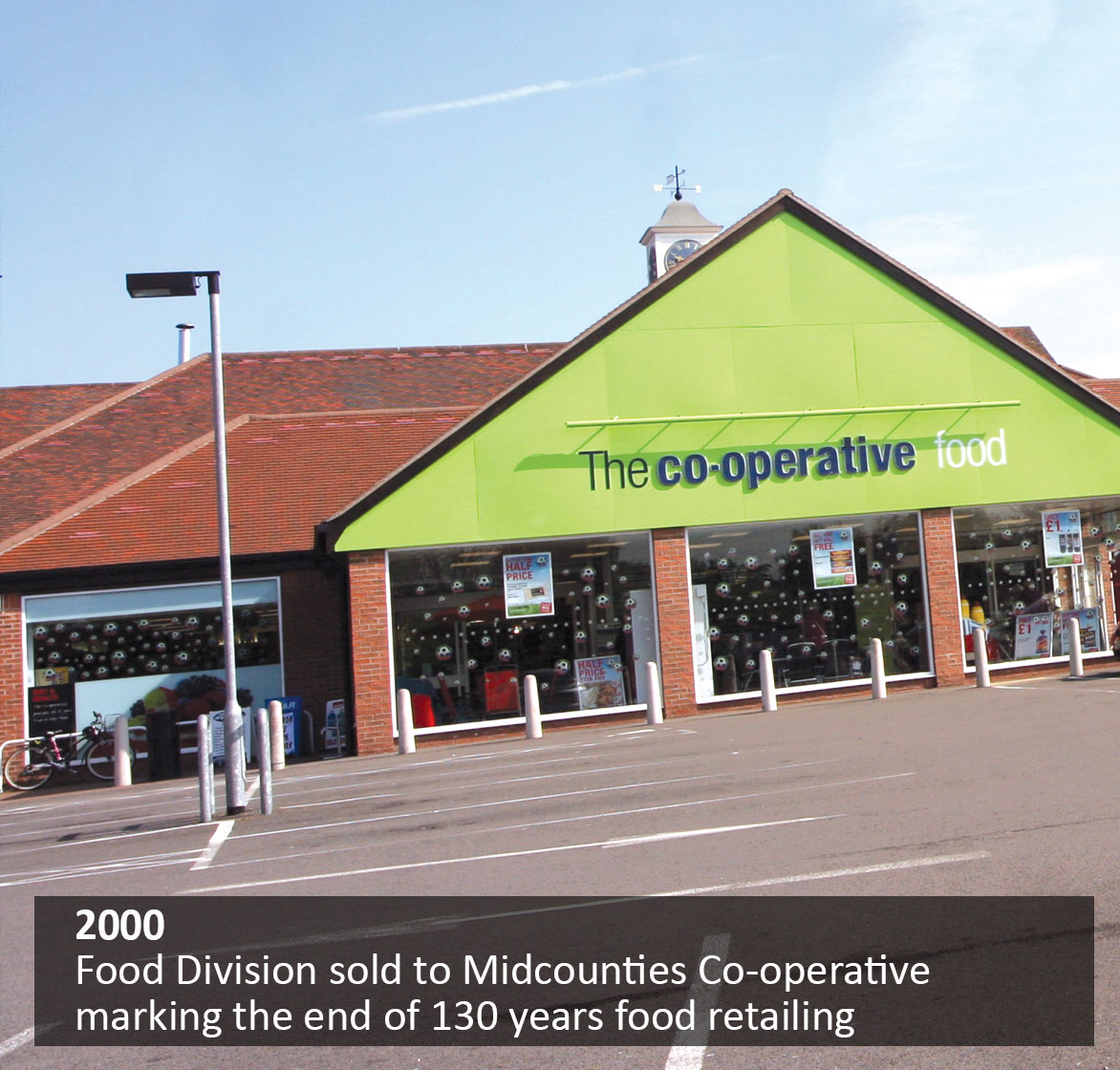 Food Division sold to Midcounties Co-operative marking the end of 130 years food retailing