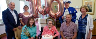 100th Birthday celebrations for resident at nursing home